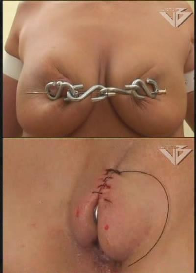 Sewn up pussy in hot bdsm
