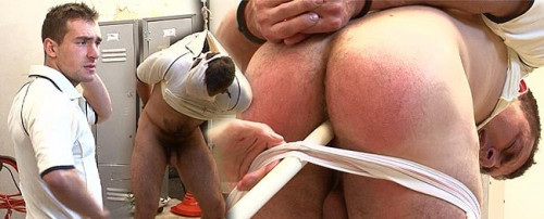 Restrained, ballbusting and stomach punching